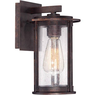 """Franklin Iron Works Vintage Industrial Outdoor Wall Light Fixture Bronze Lantern 10 1/2"""" Seeded Glass Cylinder for Exterior Porch"""