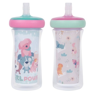 The First Years 2pk Insulated Straw Cups 9oz - Puppy