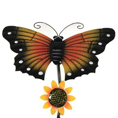 "Home & Garden 54.0"" Butterfly Spring Sunflower Poke Yard Decor Motion Movement Poke Direct Designs International  -  Decorative Garden Stakes"