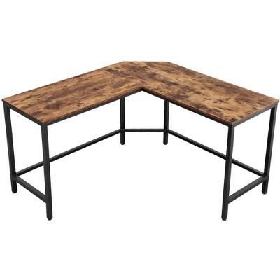 "57"" L Shape Wood and Metal Computer Desk Brown/Black - Benzara"