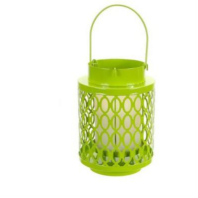 "Melrose 10"" Tropicalia Bright Green Oval Cut Pillar Candle Holder Lantern"