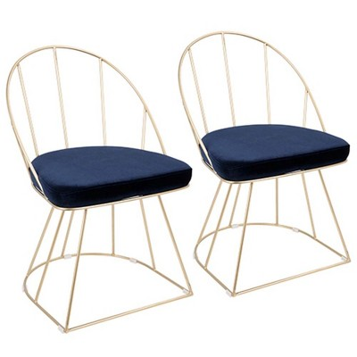 Canary Contemporary-Glam Dining/Accent Chair in Gold and Blue Velvet   - Set of 2 - LumiSource