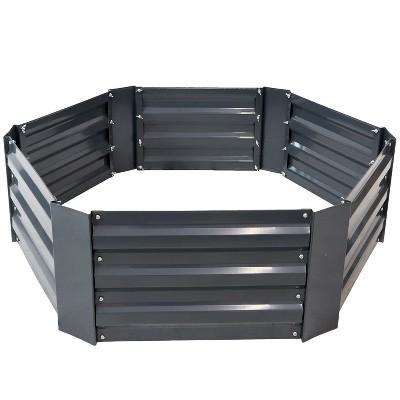 "Sunnydaze Hexagon Raised Hot Dip Galvanized Steel Garden Bed for Plants, Vegetables, and Flowers - 40"" L x 11"" H - Dark Gray"