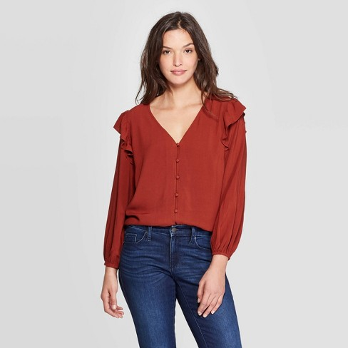 Women's Double Ruffle Long Sleeve Deep V-Neck Top - Universal Thread™ Red - image 1 of 3