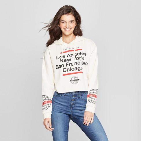 55c5c961aad Women s LA NY SF Chicago Cropped Hooded Graphic Sweatshirt - Mighty Fine  (Juniors ) Cream
