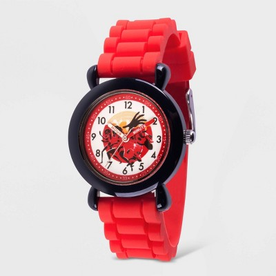 Kids' Disney The Incredibles 2 Plastic Time Teacher Silicone Strap Watch - Red