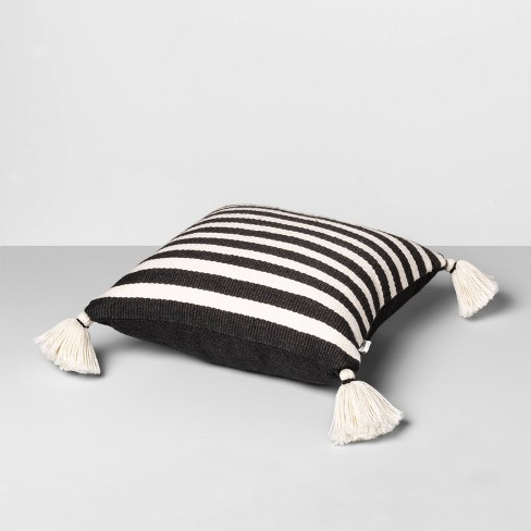 b82d3e182f689b Outdoor Toss Pillow Black   White Stripe with Tassels - Hearth   Hand™ with  Magnolia