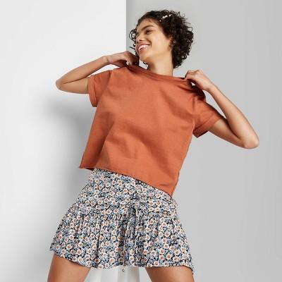Women's Short Sleeve Roll Cuff Boxy T-Shirt - Wild Fable™