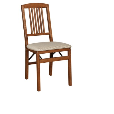 2pc Mission Back Folding Chairs Cherry - Stakmore