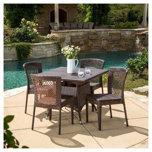 Watkins 5pc Wicker Patio Dining Set - Brown - Christopher Knight Home - image 1 of 4