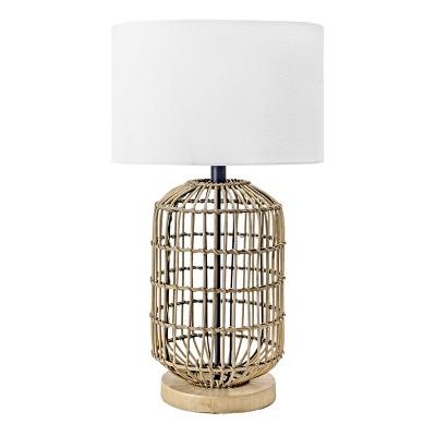 "nuLOOM Gretna 25"" Rattan & Iron Table Lamp Lighting - Brass 24.5"" H x 15"" W x 15"" D"