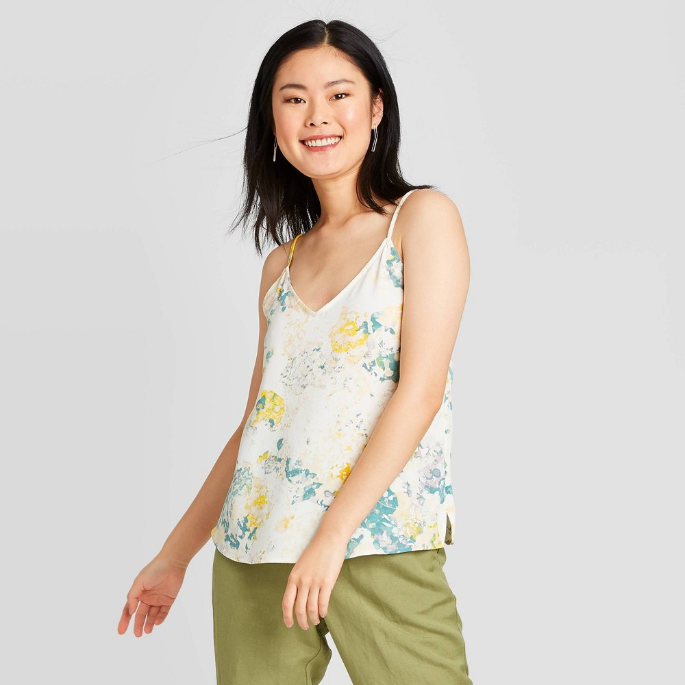 Women's Printed Woven Cami - A New Day Cream XS, Women's, White was $17.99 now $12.59 (30.0% off)
