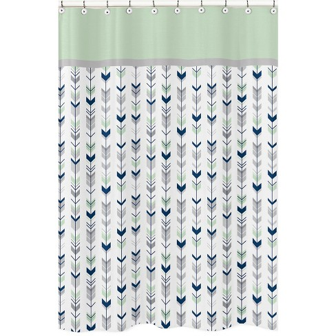 Mod Arrow Shower Curtain Navy Mint