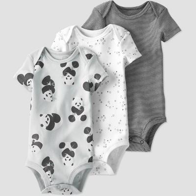 Baby 3pk Panda Bodysuit - little planet by carter's Gray Newborn