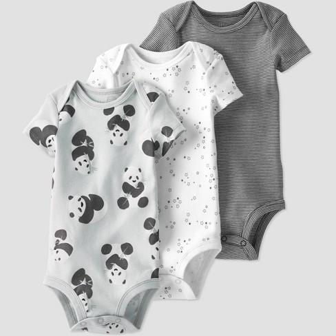 Baby 3pk Panda Bodysuit - little planet by carter's Gray - image 1 of 4