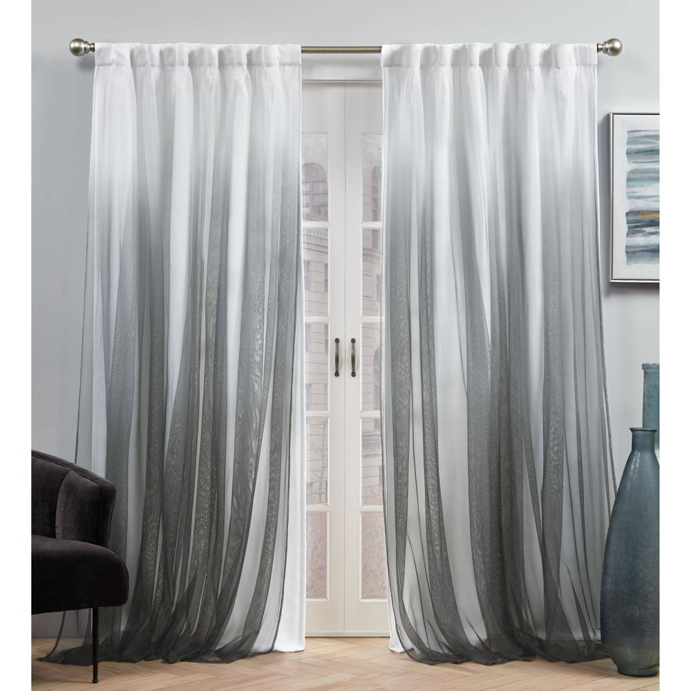 Set Of 2 84 34 X54 34 Crescendo Lined Blackout Hidden Tab Curtain Panel Black Exclusive Home