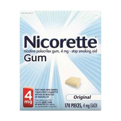 Nicorette 4mg Stop Smoking Aid Gum - Original - 170ct