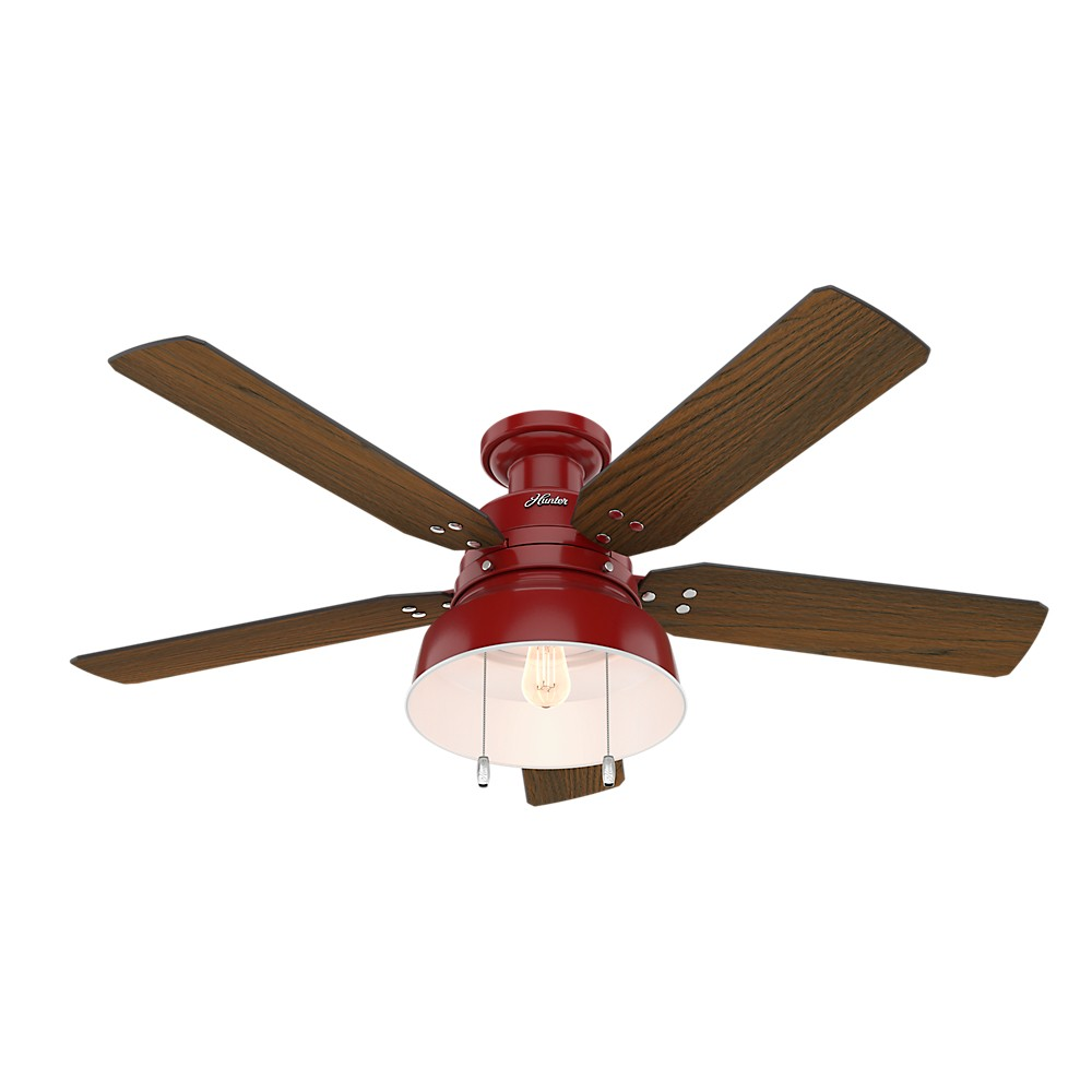 Image of 52 Mill Valley Low Profile Barn Led Lighted Ceiling Barn Red - Hunter Fan