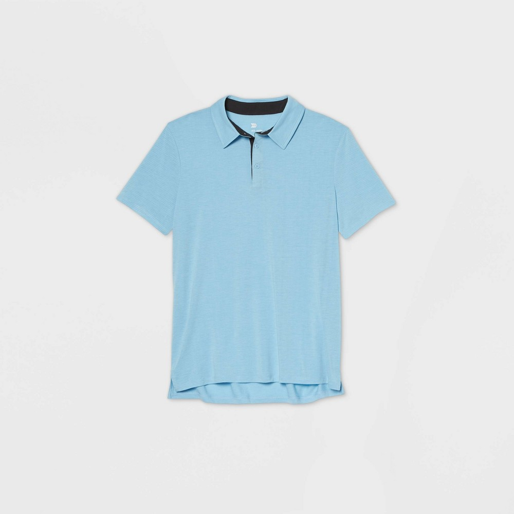 Men's Jersey Golf Polo Shirt - All in Motion Light Blue Microstripe XXL was $20.0 now $12.0 (40.0% off)