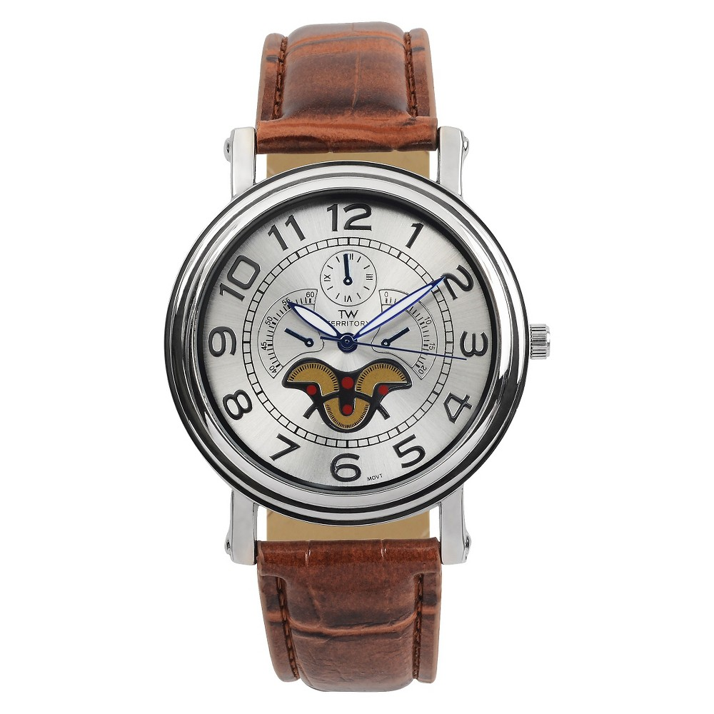 Men's Territory Classic Round Face Crocodile Print Simulated Leather Strap Watch - Brown