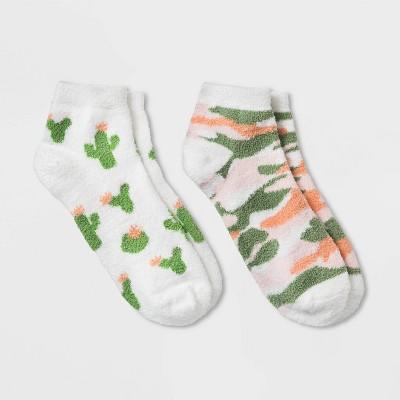 Women's Cactus Cozy 2pk Low Cut Socks - White 4-10
