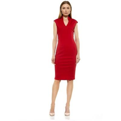 Alexia Admor Katrina V Neck Midi Dress