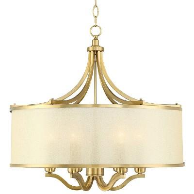 "Possini Euro Design Warm Antique Brass Drum Pendant Chandelier 25"" Wide Modern Clear Gold Organza Shade 6-Light Fixture Kitchen"