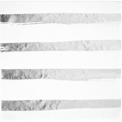 48ct Foil Striped Disposable Beverage Napkins White