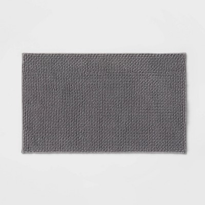 "20""x34"" Low Chenille Memory Foam Bath Rug Dark Gray - Threshold™"