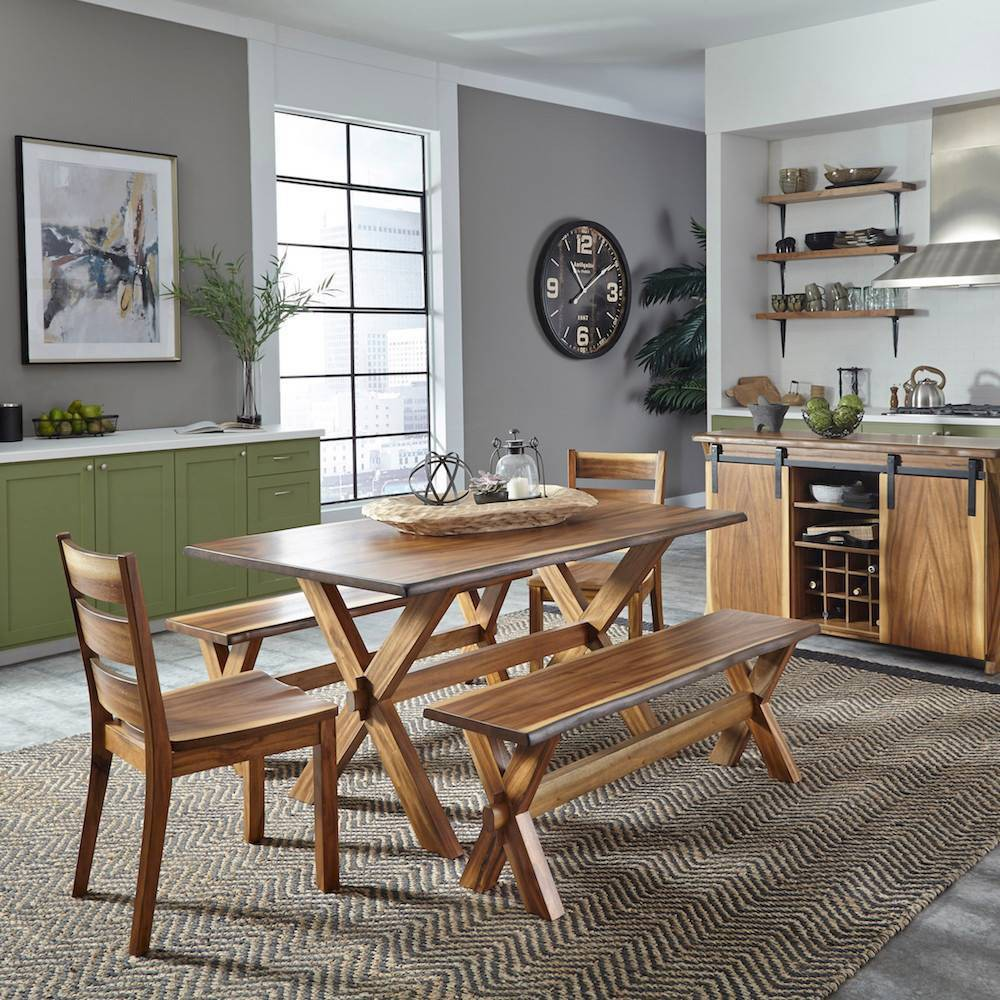 Image of 5pc Forest Retreat Dining Table Set Brown - Home Styles