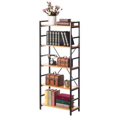 Fabulaxe Industrial Style 5 Shelf Wood and Metal Bookcase