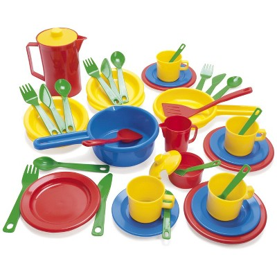 Dantoy Toddler Cookware and Dish Set, Assorted Colors, 42 pc
