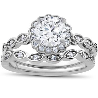 Pompeii3 1 Carat D VS2 Enhanced Halo Diamond Engagement Ring Set Round Cut 14K White Gold