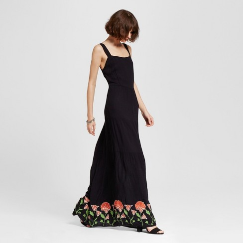 Women's Embroidered Maxi Dress Black - Alison Andrews - image 1 of 2
