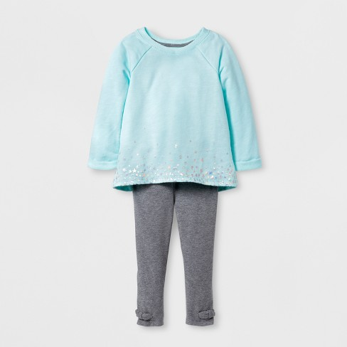 Toddler Girls' Top And Bottom Set - Cat & Jack™ Bleached Aqua 12 M - image 1 of 2