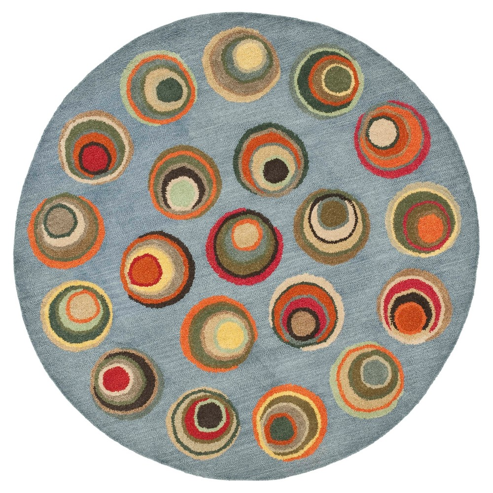 Blue Abstract Tufted Round Area Rug - (6' Round) - Safavieh, Blue/Multi