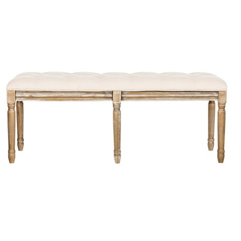 Rocha Tufted Traditional Wood Bench - Safavieh® - image 1 of 8