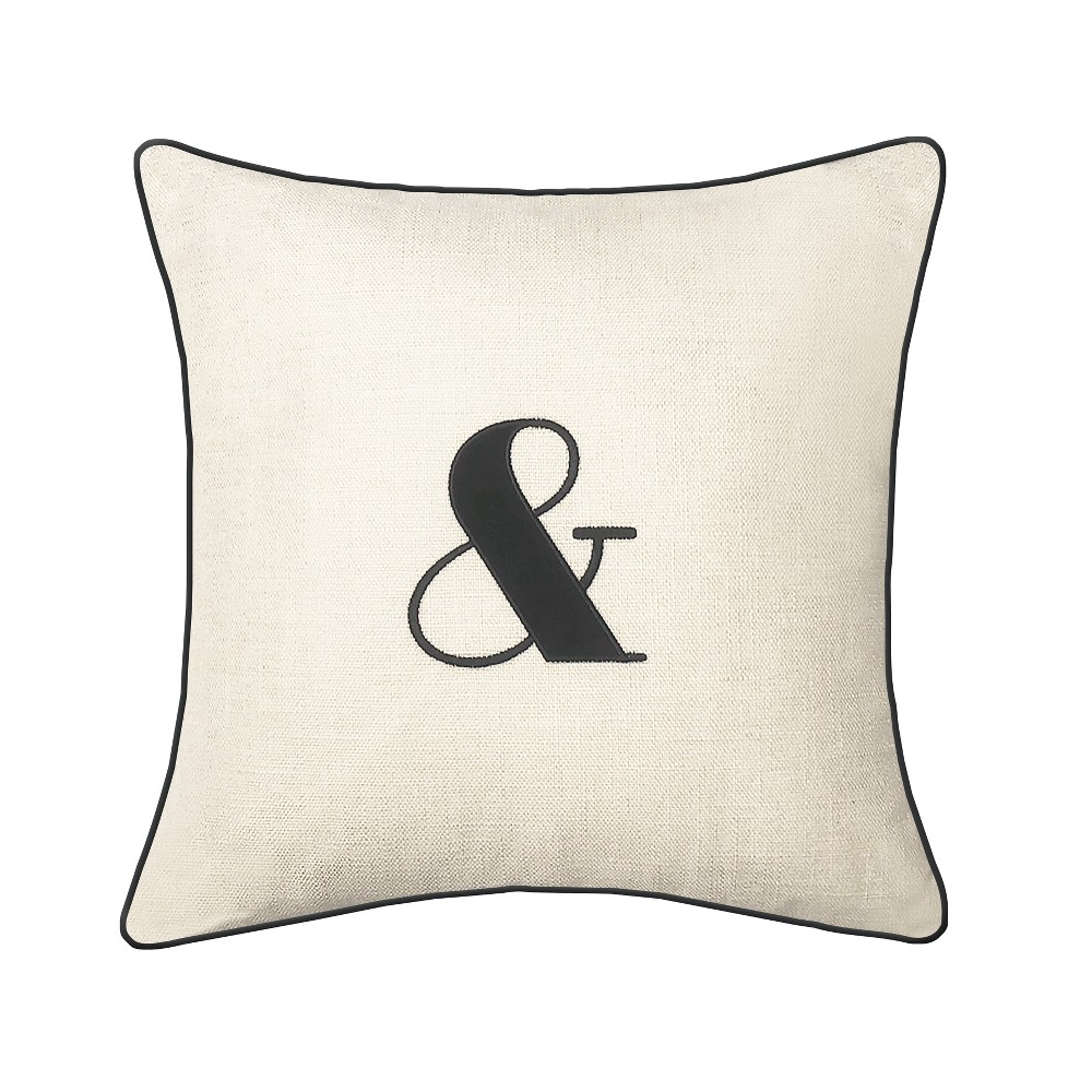 "Image of ""Embroidered """"&"""" Square Throw Pillow Cream - Edie@Home"""