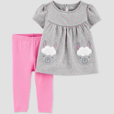 Baby Girls' Llama Top & Bottom Set - Just One You® made by carter's Gray/Coral 3M