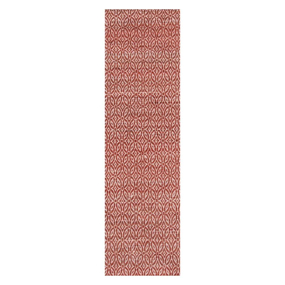 2'3X8' Geometric Woven Runner Red - Momeni