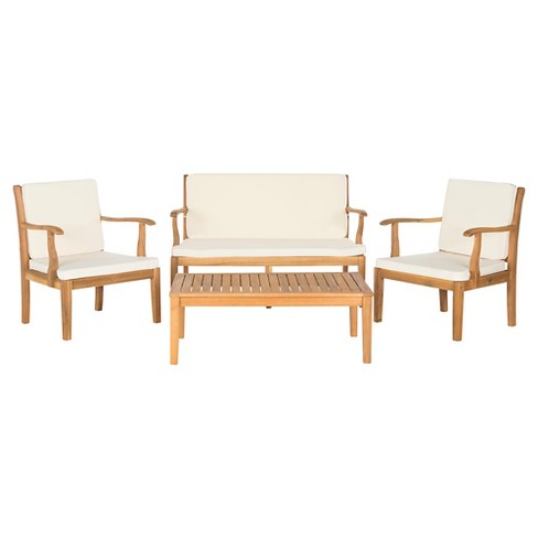 Malta 4 Piece Wood Patio Conversation, Outdoor Conversation Furniture