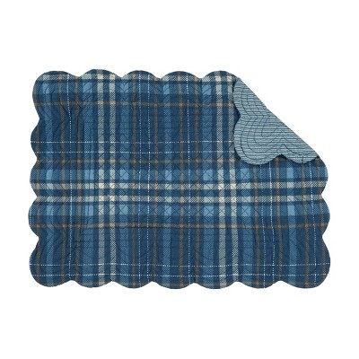 C&F Home Anthony Navy Plaid Cotton Quilted Rectangular Reversible Placemat Set of 6
