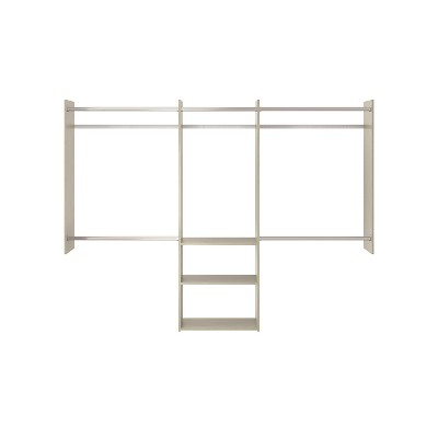 Easy Track RB1460-CGON Deluxe Starter Closet Storage Wall Mounted Wardrobe Organizer System Kit with Shelves and Rods, Weathered Grey