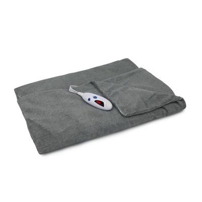 """62"""" x 50"""" Microplush Electric Throw Blanket Gray Herringbone - Biddeford Blankets"""