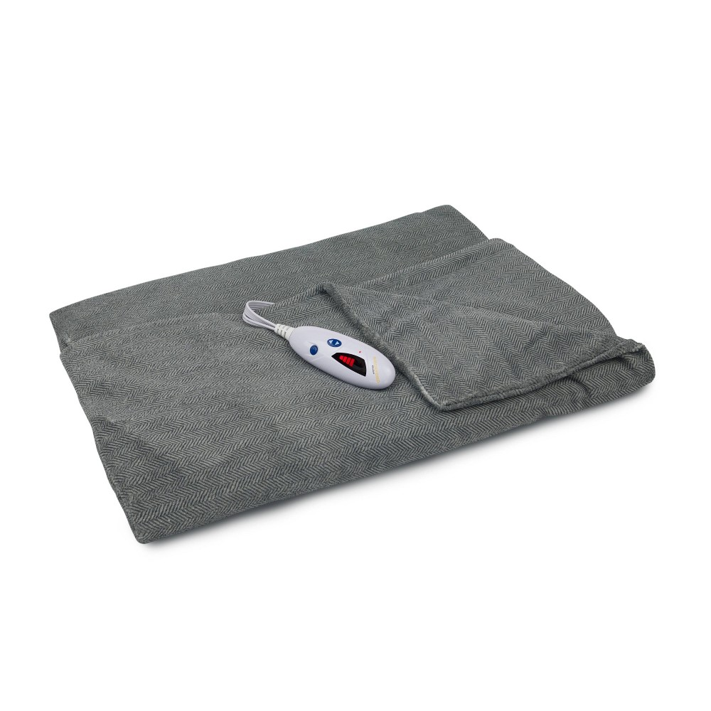 """Image of """"62"""""""" x 50"""""""" Microplush Electric Throw Blanket Gray Herringbone - Biddeford Blankets"""""""