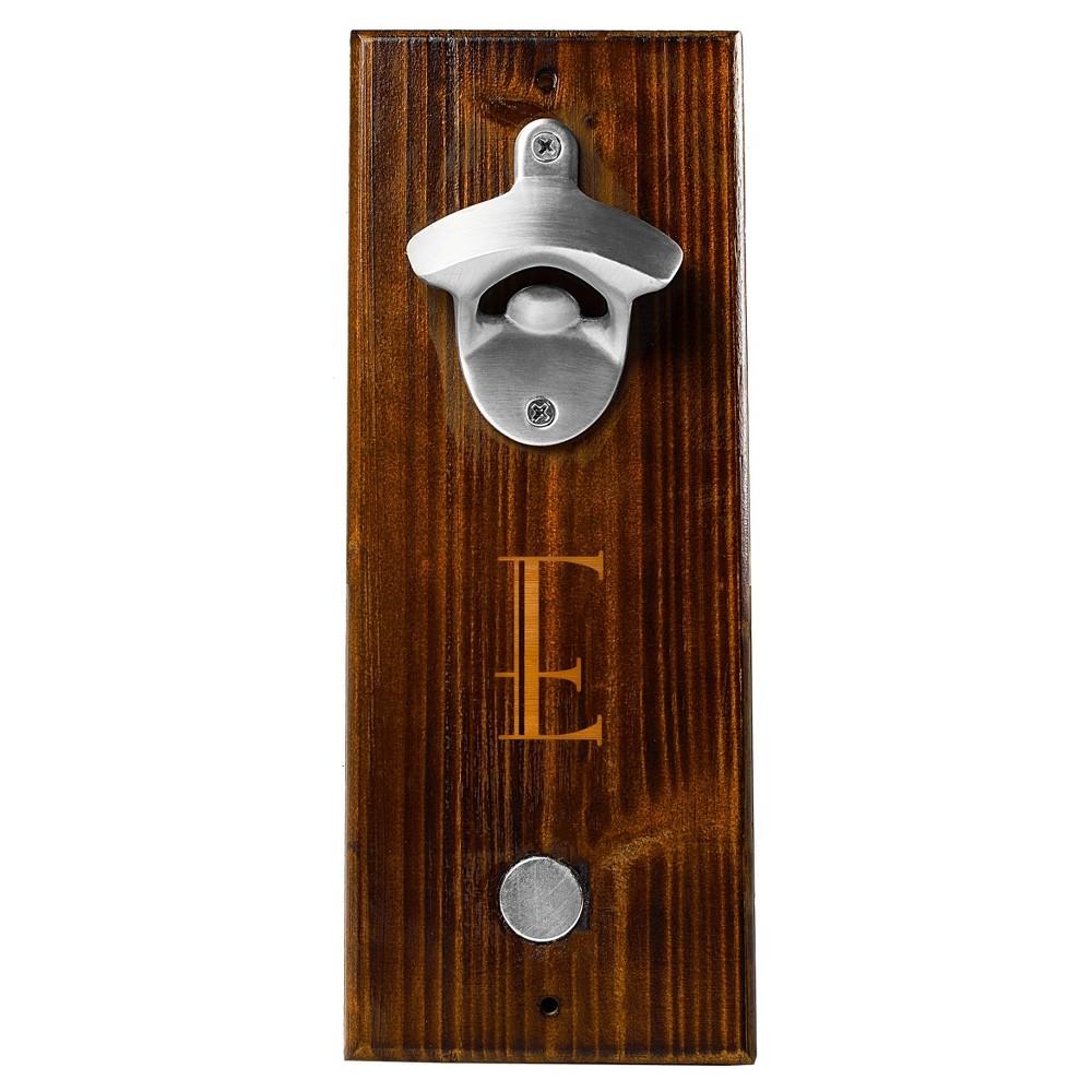 Monogram Groomsmen Gift Rustic Wall Mount Bottle Opener With Magnetic Cap Catcher - E, Brown