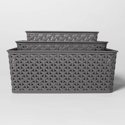 3pc Y-Weave Cube Storage Box Gray - Room Essentials™
