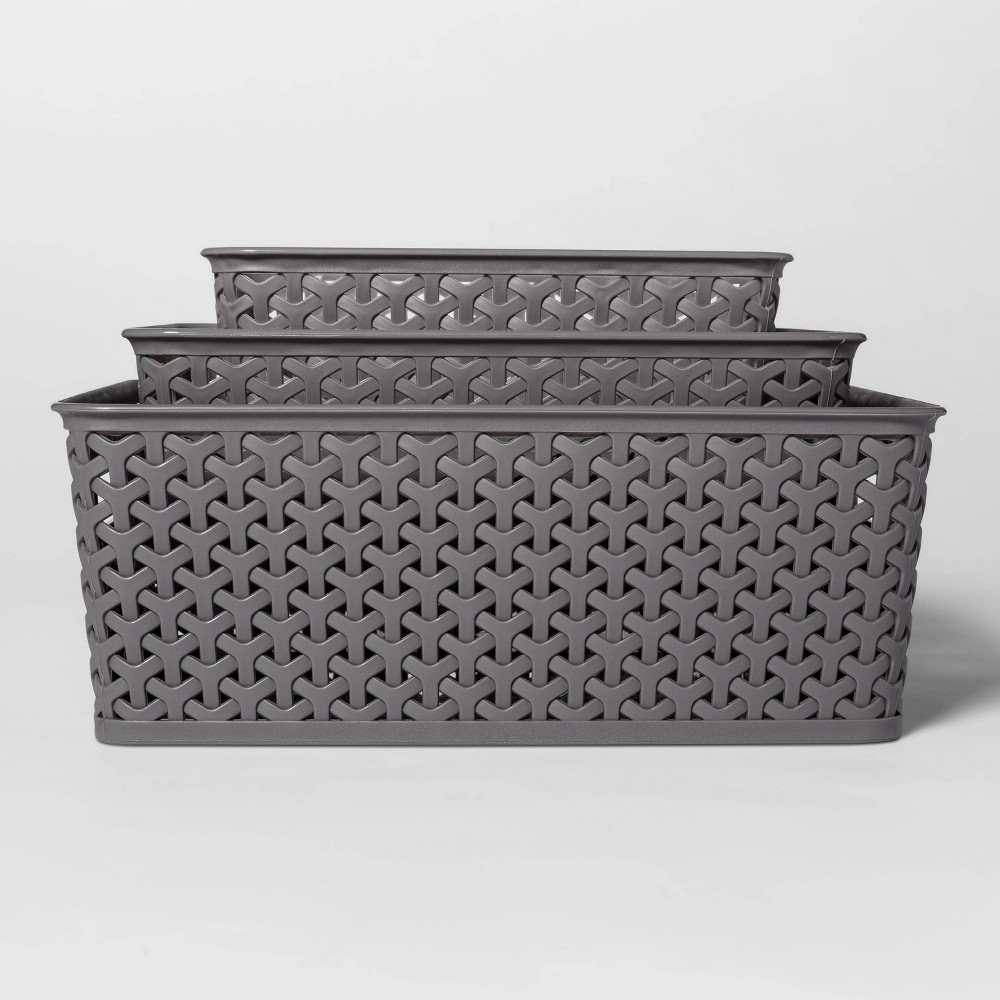 Image of 3pc Y-Weave Cube Storage Box Gray - Room Essentials