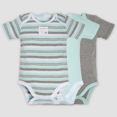 Burt's Bees Baby® Organic Cotton 3pk Striped Bodysuits - Heather Gray/Aqua 3-6M