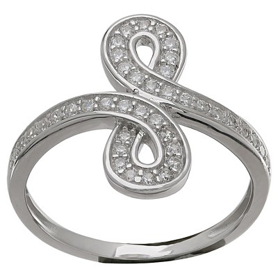 Women's Infinity Ring with Clear Pave Cubic Zirconia in Sterling Silver - Clear/Gray (Size 7)
